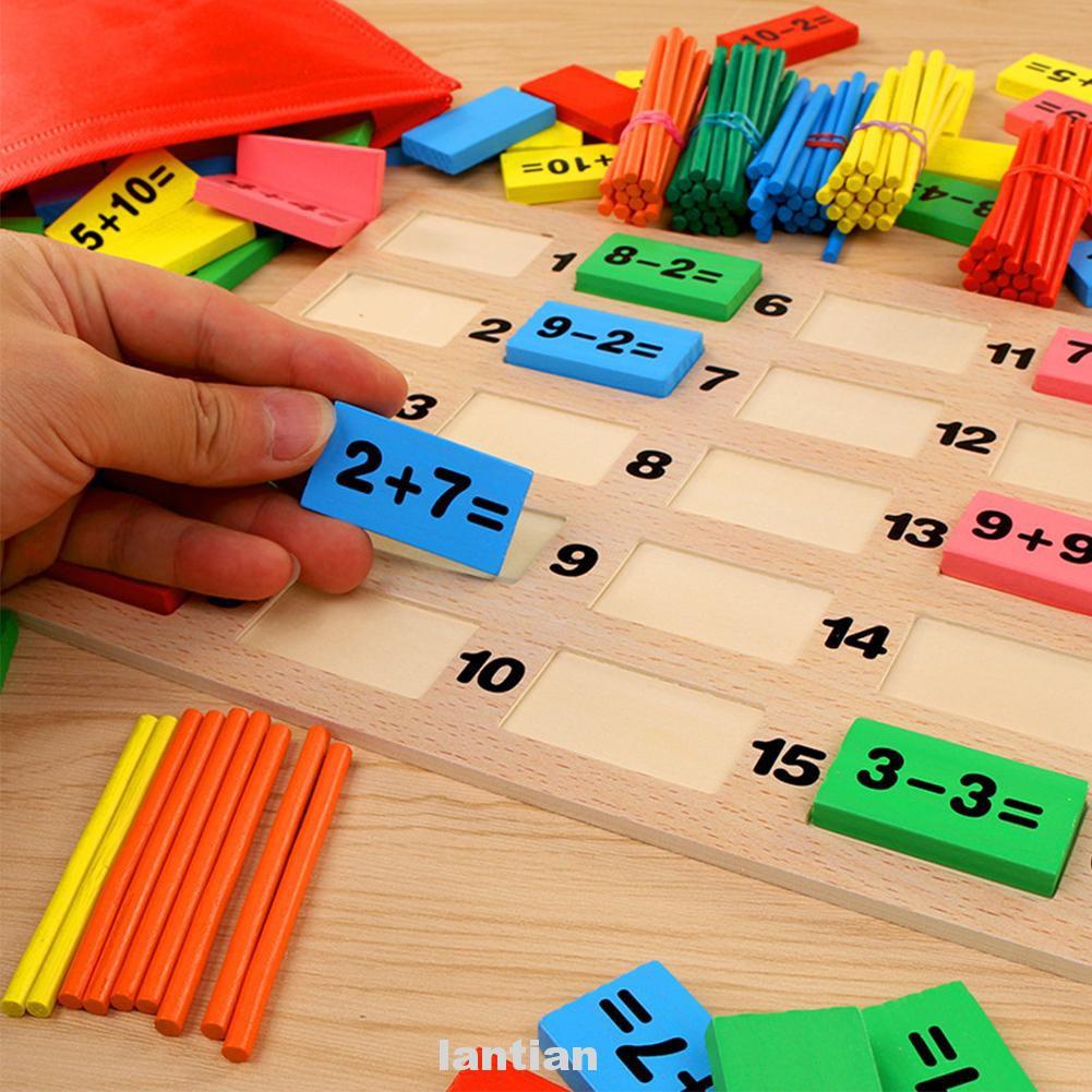 110pcs Blocks Toy Educational Wooden Gift Kids Learning Mathematics Sticks For Children