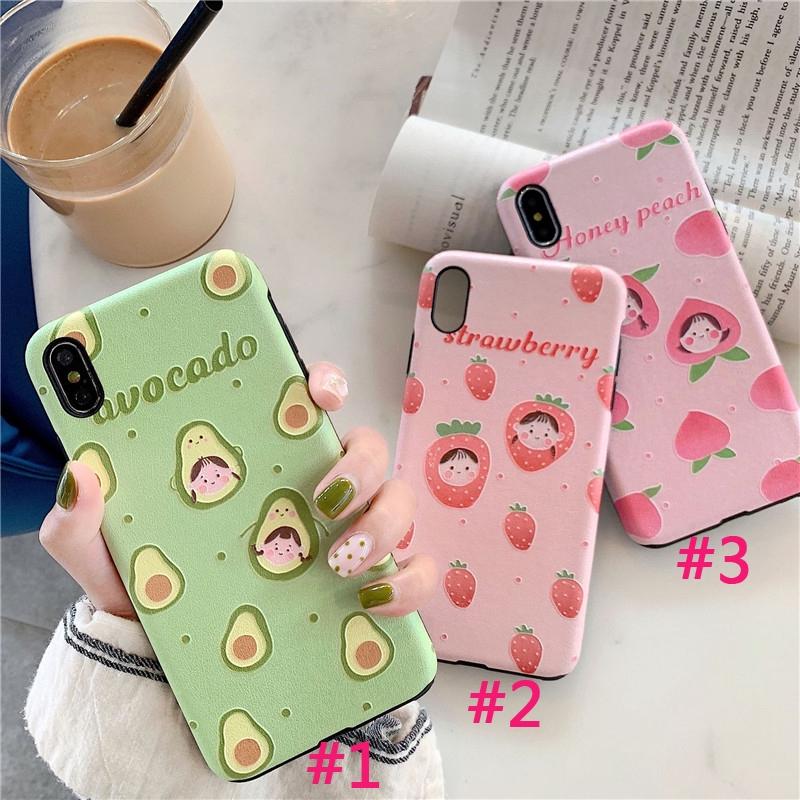 Ốp điện thoại silicon hình cô gái và trái cây dễ thương cho iphone 6/6s/6p/6sp/7/8/7p/8p/x/xs/xr/xsmax