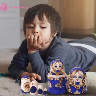 WB✿ 7pcs Russian Matryoshka Nesting Dolls Basswood Plait Girl Paint Decor Gift