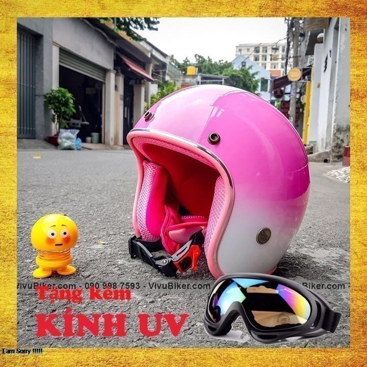 COMBO mũ bảo hiểm hồng pha trắng lót hồng tặng kèm kính nón bảo hiểm - combo nón bảo hiểm kèm kính uv cao cấp