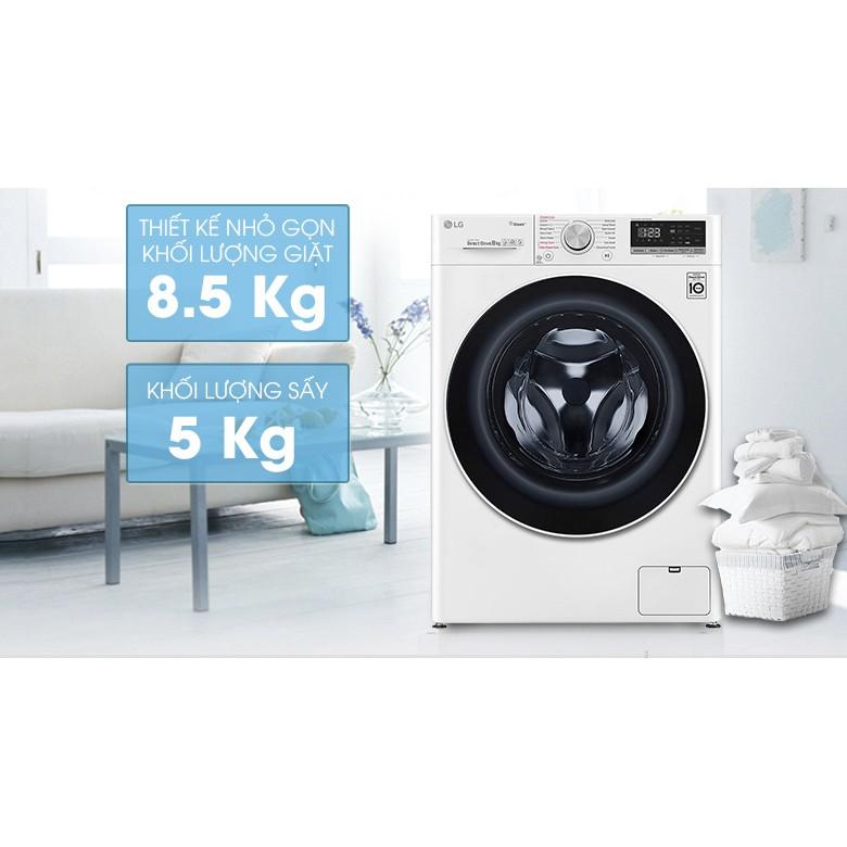 Máy giặt thông minh LG AI DD 8.5kg+ sấy 5kg FV1408G4W