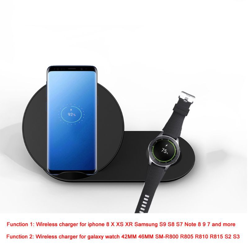 Đế Sạc Không Dây 2 Trong 1 Qi Cho Iphone X Xr Xs Max 8 Samsung S9 S8 S7 Note 9 8 Galaxy Watch Gear S3 S2 Huawei Mate Rs Mate 20
