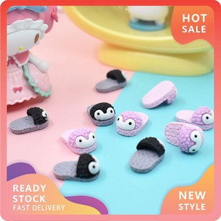 YOU-d 4Pcs Mini Simulation Cartoon Penguin Slippers Doll House Play Toy Kids Gift