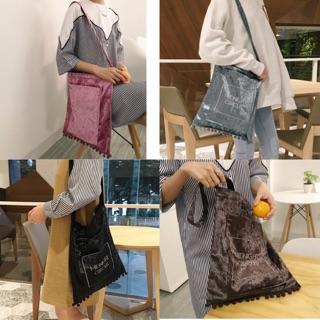Túi xách nhung tua rua Túi vải đeo vai _ túi tote - Túi xách  trang nữ tiện ích- Túi vải tiện ích