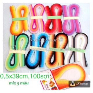 Giấy Quilling 5mm*39cm – mix theo tone