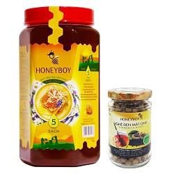 Combo Thực Phẩm Chức Năng Mật Ong Thiên Nhiên 5 Sạch (1kg) + Nghệ Đen Mật Ong Honeyboy (80g)