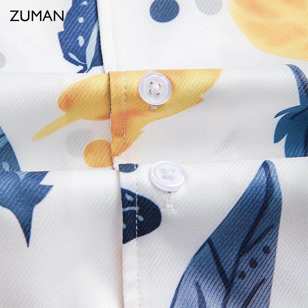 Mặc gì đẹp: Xinh tươi với Áo sơ mi họa tiết tay ngắn nam Eagle Feathers ZUMAN  ASM147 form suông, chất lụa vân chéo, thoáng mát, không nhăn