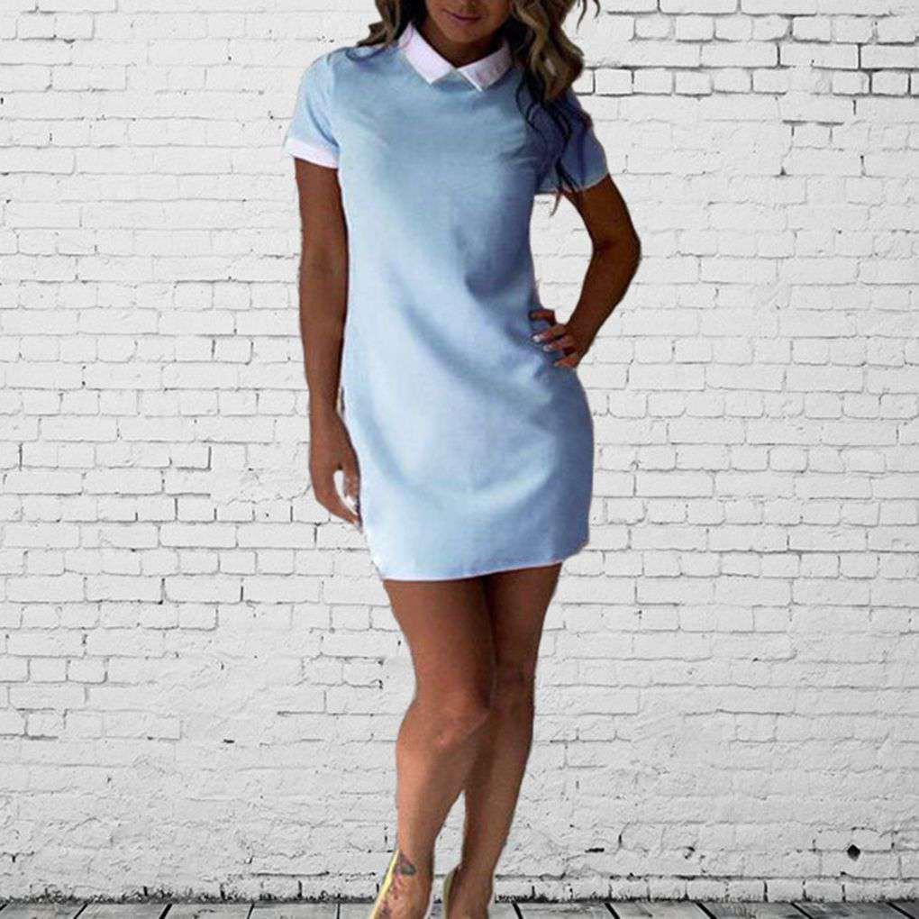 Women Office White Collar Shirt Dress Summer Short Sleeve Patchwork Dress