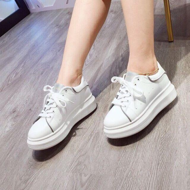 Giày thể thao trắng đế cao phản quang-fullbox