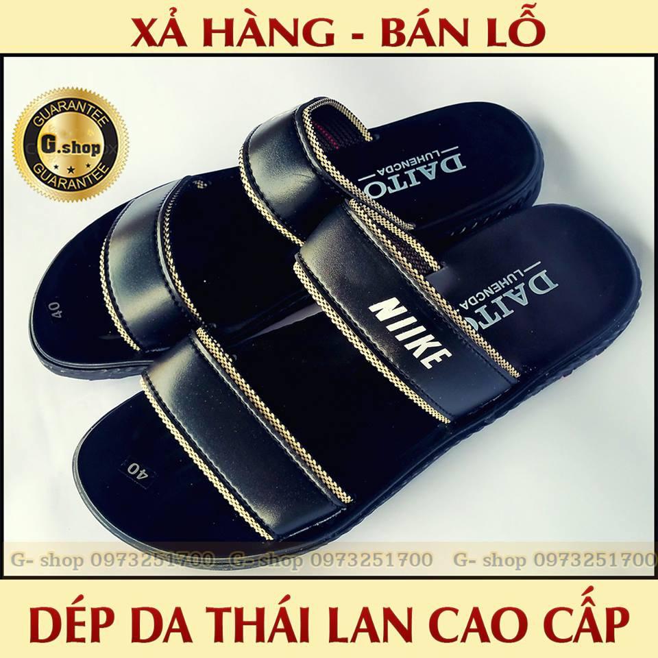 Dép da nam: Dép nam Thái Lan cao cấp - Xả Hàng Bán Lỗ - Quai vải dù quân sự - Đệm Da Cao cấp