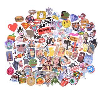 100Pcs Mixed Funny Cartoon Doodle Decals Luggage Laptop Skateboard DIY Stickers