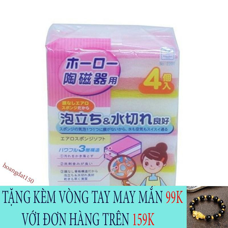 [SIÊU PHẨM] Set 4 miếng rửa bát 2 mặt ráp giúp lau chùi, đánh rửa các vết bẩn được dễ dàng