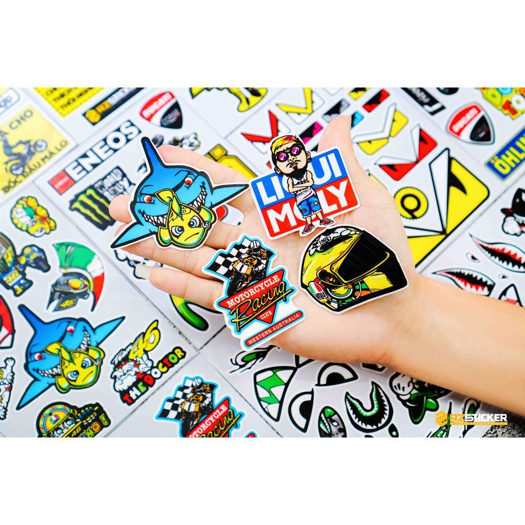 [Set 50+] Sticker Tem Xe Chế | Dán Nón Bảo Hiêm, Điện Thoại, Laptop, Bình Nước...Chống Nước, Chống Bay Màu