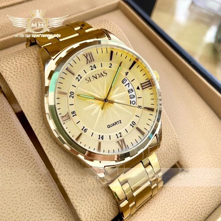 Đồng hồ nam Sendas mặt vàng lịch lãm
