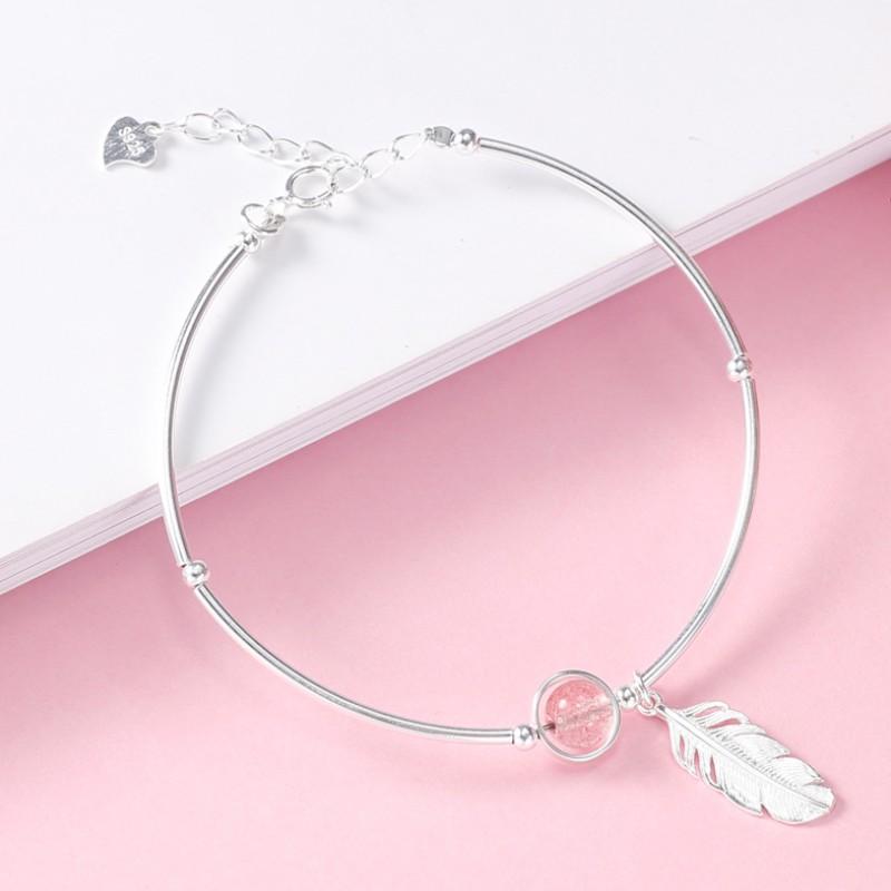 Vòng Tay Nữ Bạc dâu tây lông vũ xinh xắn XB-L37 - Bảo Ngọc Jewelry