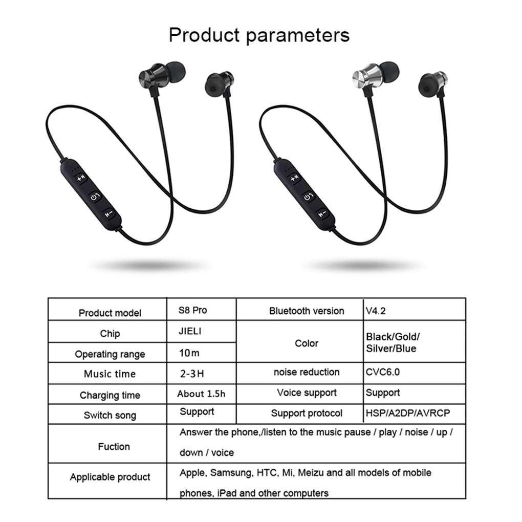 Tai Nghe Nhét Tai Xt11 Kết Nối Bluetooth 4.2 Có Nam Châm Chống Ồn Thiết Kế Thể Thao