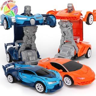 Xe đua xoay 360 độ và biến hình Robot có đèn và nhạc cho trẻ em lứa tuổi 3+