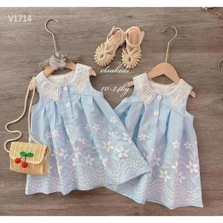 Váy bé gái sóng xanh cực xinh – VBG-sóng-xanh
