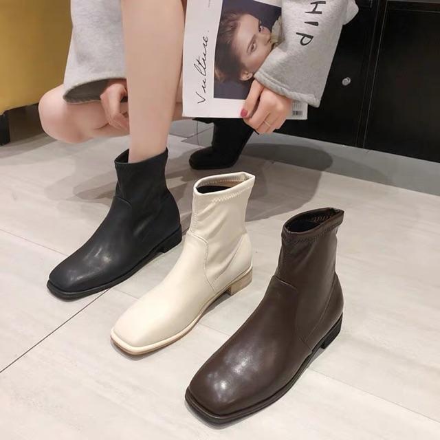 (Order) Boots mũi vuông gót 3cm dáng basic