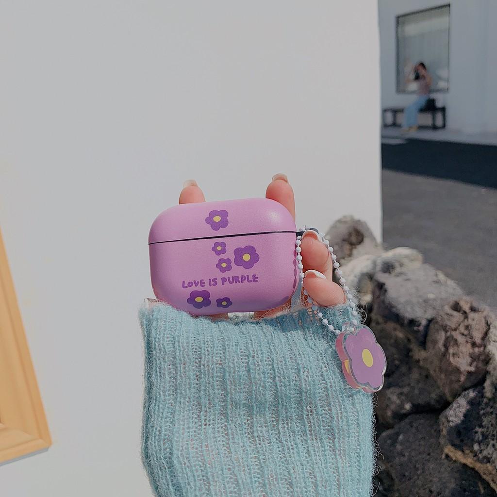 Vỏ IMD Bảo Vệ Hộp Sạc Tai Nghe Bluetooth Airpods Kết Nối iPhone Màu Tím Họa Tiết Hoa Xinh Xắn