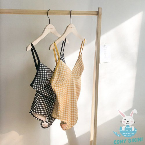 Bộ Đồ bơi đi tắm biển nữ Bikini 1 mảnh (Set Áo liền quần) Caro 1962 - NAM CONY