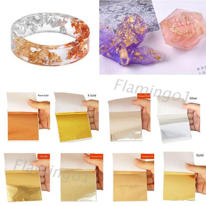 FLGO* 100Pcs Gold Leaf Sheet DIY Imitation Foil Paper Resin Jewelry Making Gilding Art