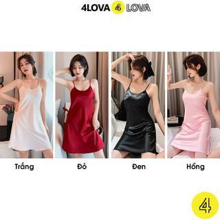 Hình ảnh Váy ngủ 2 dây lụa satin cao cấp 4Lova mềm mịn, quyến rũ-1