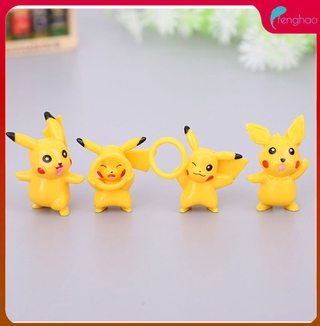 ready/cod New 16 pieces / set cartoon yellow picachu landscape ornaments DIY assembly small toy toys birthday gift fenghao