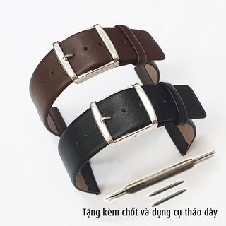 Dây da đồng hồ nam, da bò mềm siêu mỏng khóa inox tặng kèm chốt và dụng cụ tháo dây - D2006