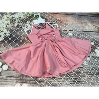 váy hồng đan dây cho bé