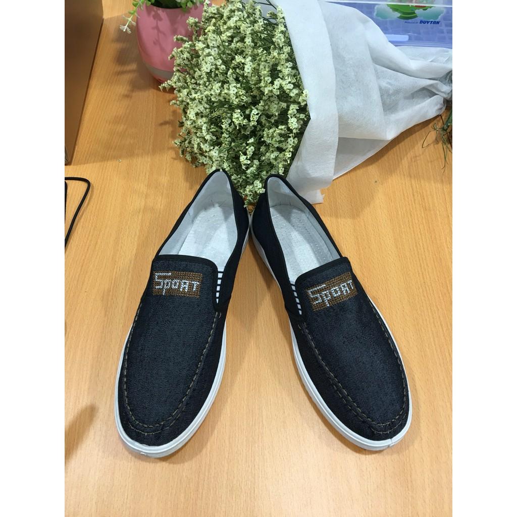 Giày lười vải nam chữ Sport màu đen G19