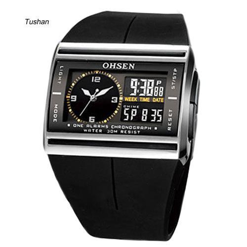 Đồng hồ điện tử nam dây cao su phong cách thể thao tush _