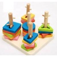 Bộ Wooden Toys Thả hình 3D đế vuông 5 trụ