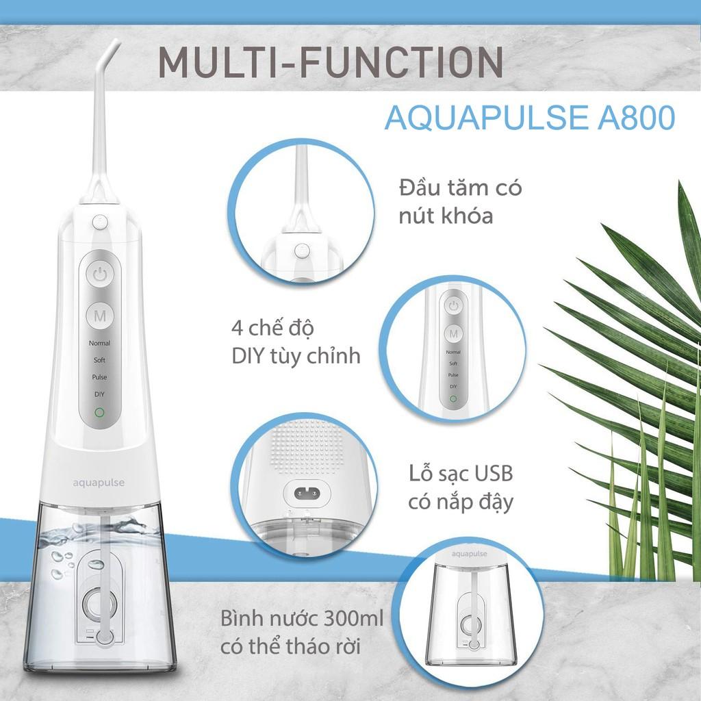 Máy tăm nước cho người niềng răng Aquapulse A800 (Combo máy + 2 đầu tăm răng niềng)