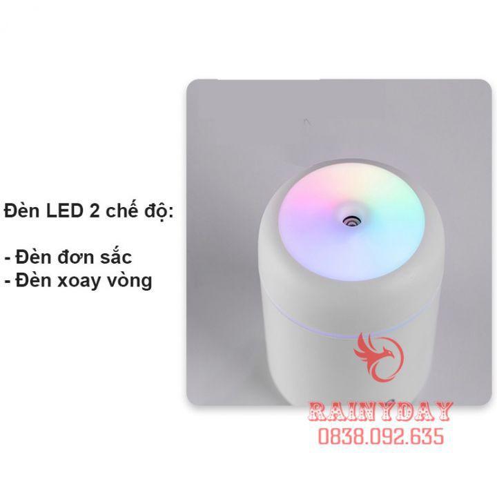 [Hàng Cao Câp] Máy phun sương tạo độ ẩm không khí mini Humidifier cho xe hơi ô tô để phòng usb có đèn led 300ml .