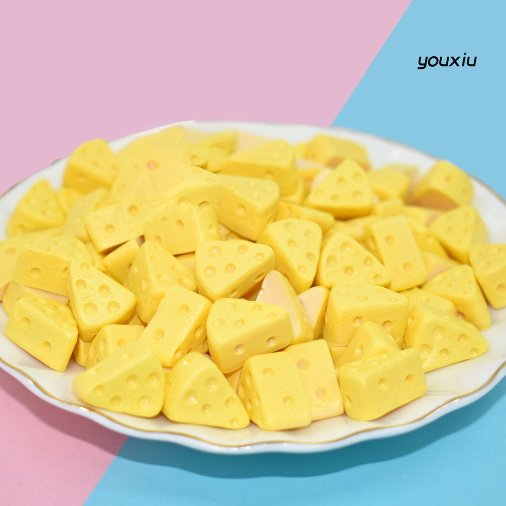 YOU-d 5Pcs Mini Simulation Cheese Cake Cut Pieces Model Dollhouse Toy DIY Play Gift