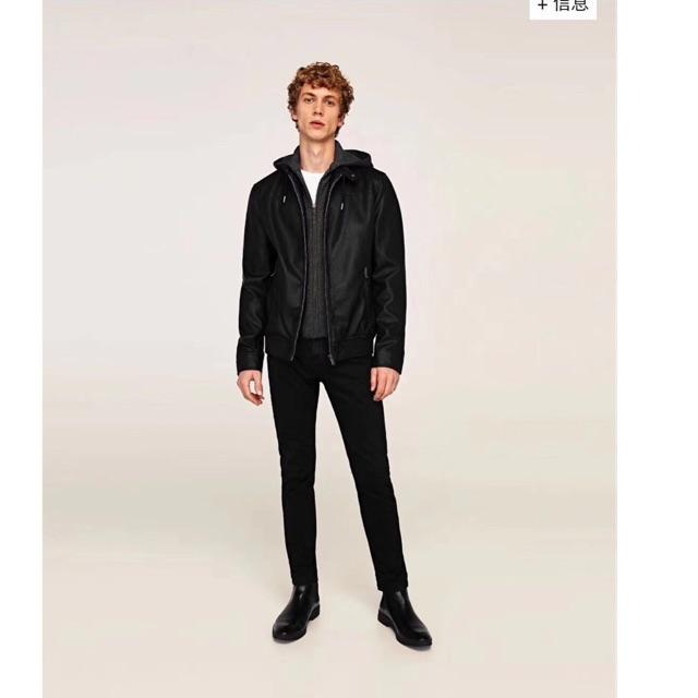 [Có sẵn] Áo da nam Zara mũ