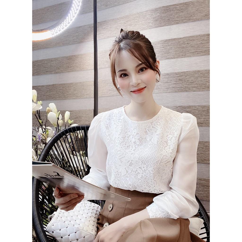 Mặc gì đẹp: Xinh tươi với Áo công sở nữ kiểu G64 đẹp chất mát, mịn không nhăn, áo nữ công sở mầu trắng kiểu ren tay dài rất xinh và thời trang