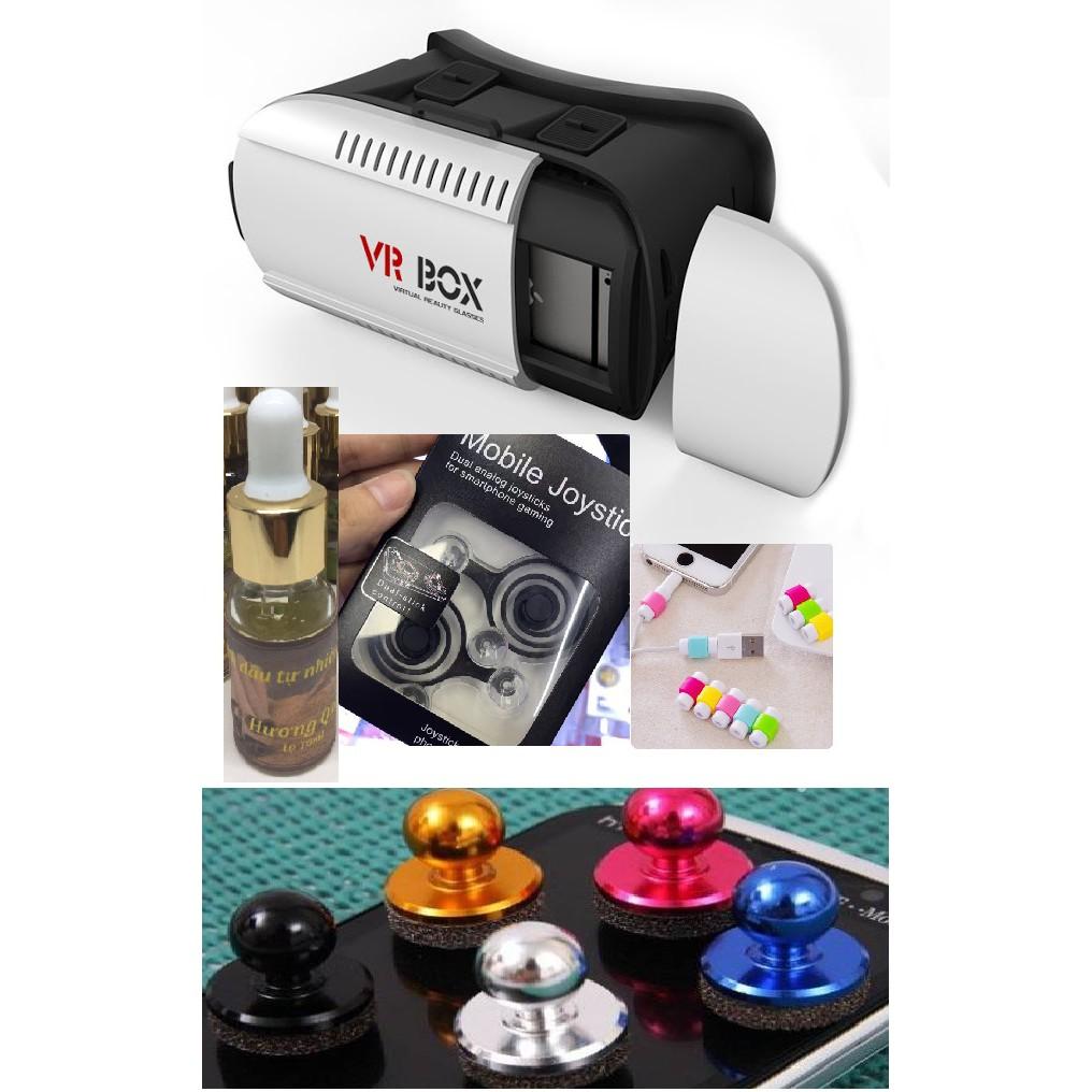 Bộ sản phẩm 2 kính 3D VR box + 4 joystickmini2 + 3 bộ Joystick mini + 6 bộ bảo vệ cáp sạc + 1 tinh d