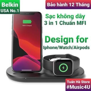 Đế sạc nhanh không dây 3 trong 1 Belkin cho IPhone, Watch, AirPods, chuẩn MFI [Music4U] thumbnail