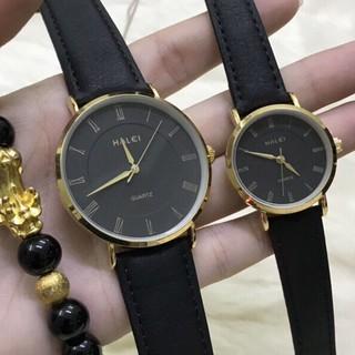 Cặp đồng hồ HALEI HL540 dây da đen cao cấp, mặt size 40mm 25mm màu đen thời trang, chống xước, chống nước tuyệt đối