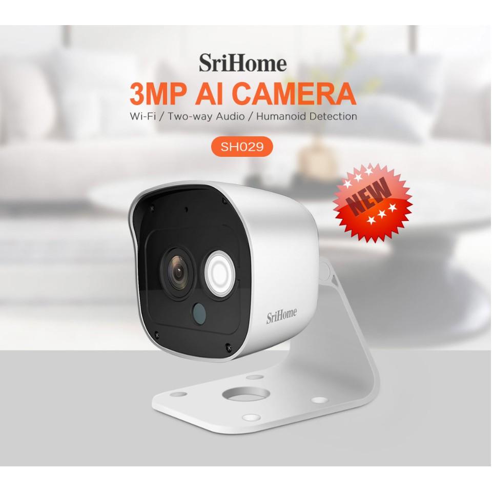 [Mã ELCA11 giảm 7% đơn 500k] Camera IP Wifi thế hệ mới SriHome - 3.0mpx siêu nét chống nước SH029