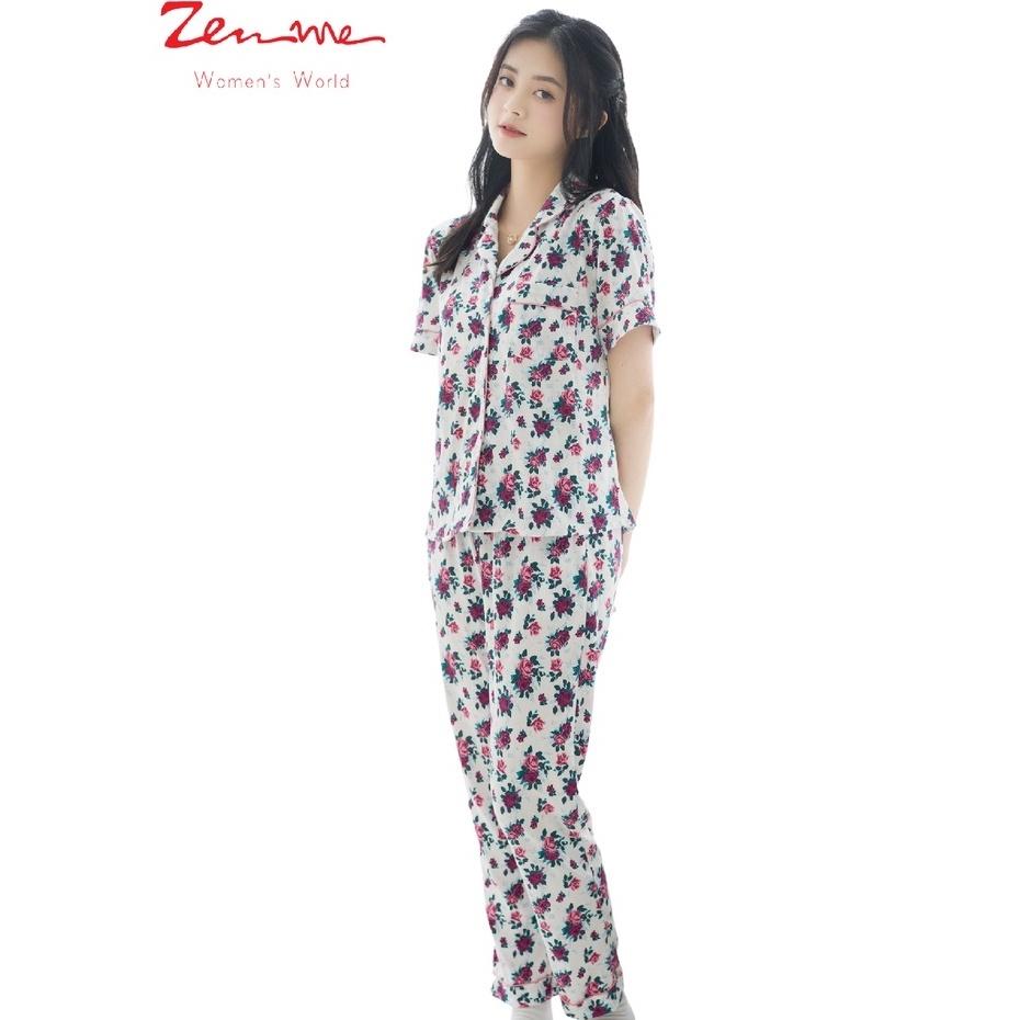 Mặc gì đẹp: Ngủ ngon với Bộ mặc nhà nữ Zen Me thiết kế pijama thu đông cộc dài chất liệu 100% cotton họa tiết trẻ trung