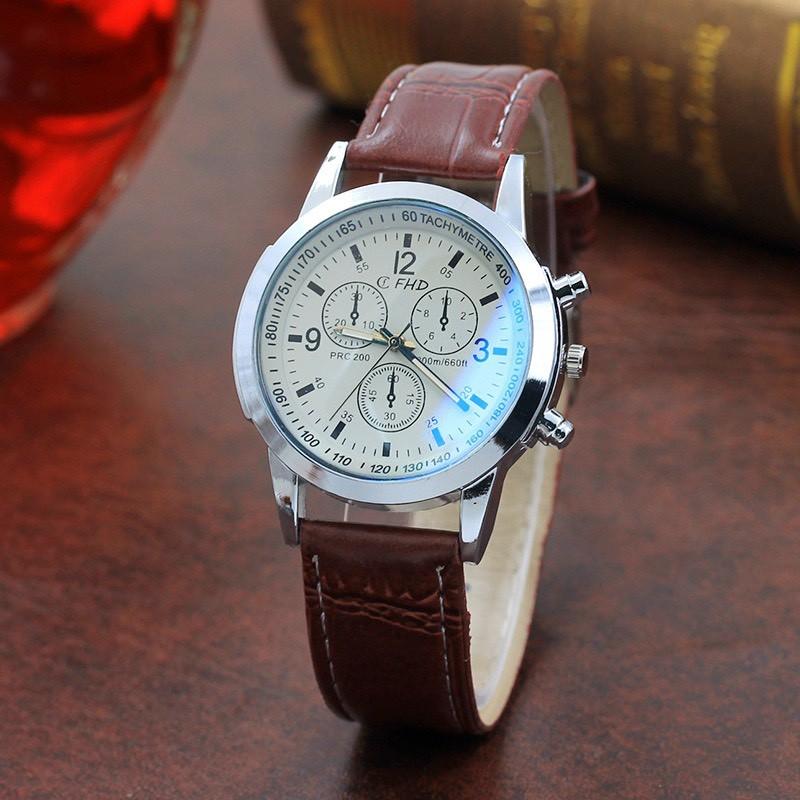 Đồng hồ đeo tay nam dây da CFHD lịch lãm cực DH101