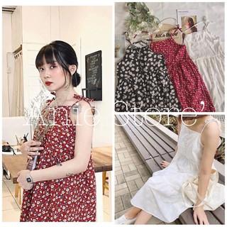 Đầm Hoa Nhí 2 Dây Nữ 🦋 Váy Dây Buộc Hoa Nhỏ 3 Màu 🦋