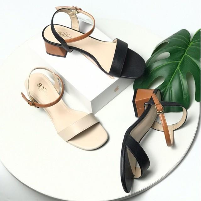 Sandal nữ BQ ❤️FREESHIP❤️ Giày sandal phối quai màu sắc trẻ trung gót vuông 5cm GIBQ040