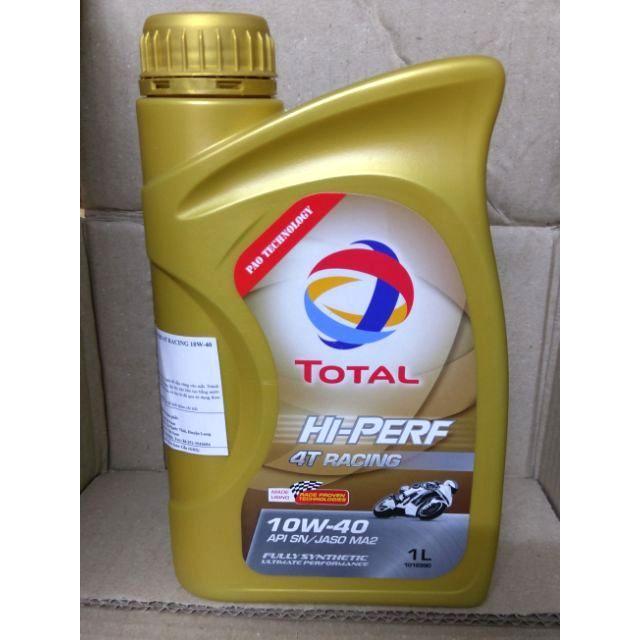 Nhớt Pao Total tổng hợp 100% xe số Hi perf 4T RACING 10W40 1L lít (dầu máy Fully Synthetic Motor Oil SN 4 thì, toàn phần