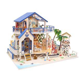 mô hình gỗ đồ chơi trí tuệ DIY ,xinh xinh _mô hình biệt thư tặng kèm đèn thumbnail