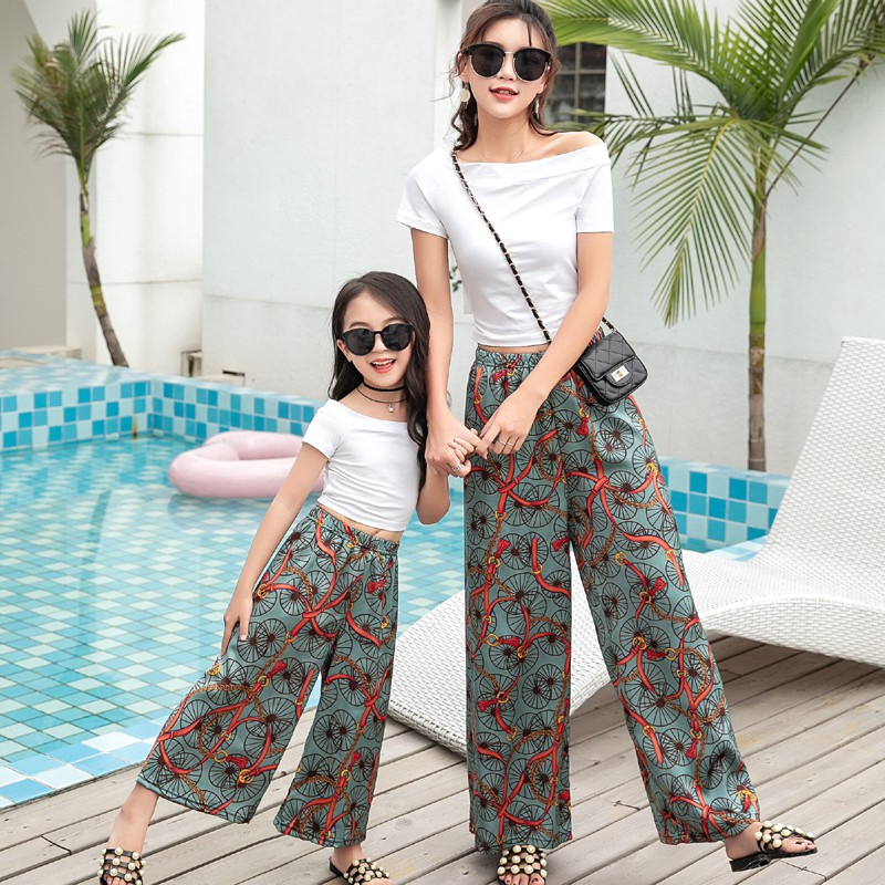 Family Matching Clothing Mother and Daughter Casual Floral Print Long Loose Pants Trousers