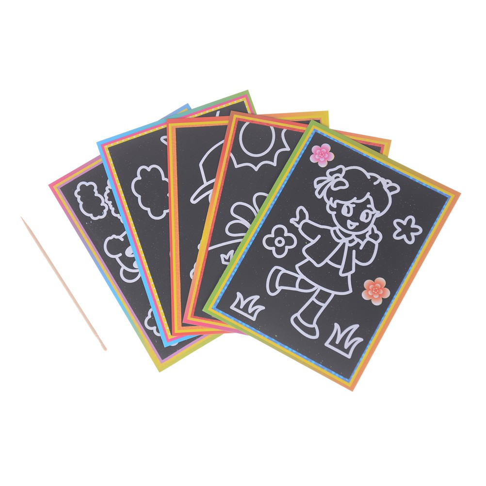 LOVEU* 5pcs Child Kids Magic Scratch Art Doodle Painting Card Educational Drawing Toys